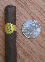 Corticos Maduro with quarter for comparison